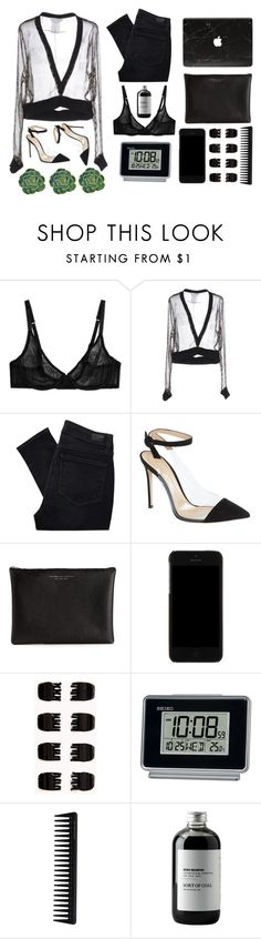 """blk"" by helooksoperfc ❤ liked on Polyvore featuring L'Agent By Agent Provocateur, Givenchy, Paige Denim, Gianvito Rossi, Carven, Dolce&Gabbana, Forever 21, Seiko, GHD and Sort of Coal"