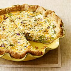 Broccoli and Cheddar Quiche~ Who says real men don't eat quiche? It's...
