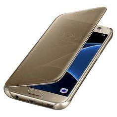Samsung Galaxy S7 edge Case S-View Clear Flip Cover, Dark Tan/Gold