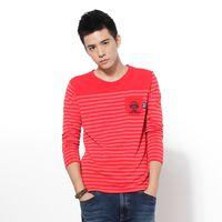 【江戶勝系列】EDWIN 口袋刺繡 條紋T恤-男款 紅色