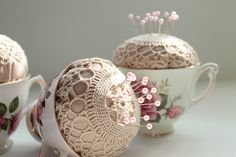 teacup pincushions ~ Want to make these so bad!