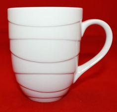 Jamie Oliver Porcelain White Embossed Waves Coffee Tea Mug Cup 1309001