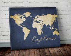 Navy WORLD MAP Wall ART Canvas World Map Print in Navy Blue