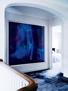 french arched ceiling georgian style mansion staircase idea oversized art work hallway blue navy moody shop room ideas