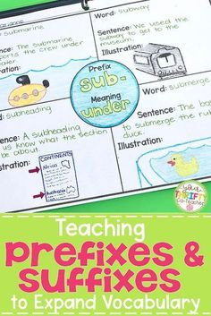 Implementing Prefixes and Suffixes Activities in your classroom can help students master affixes. Mastering affixes will help students determine the meaning of unknown words they may not otherwise be able to understand. Word Study Activities, Spelling Activities, Vocabulary Activities, Reading Activities, Teaching Reading, Spanish Activities, Vocabulary Strategies, Prefix Games, Learning Spanish