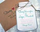Mason Jar Wedding Invitations - Mason Jar Save The Dates, Engagement Party, Vintage Wedding, Rustic Wedding