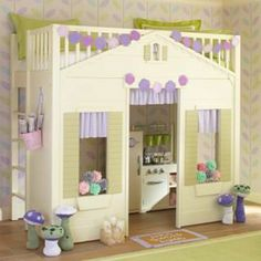 Little Girl Bunk Bed with Play Cottage #potterybarnkids