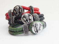 Elephant African Snap Bracelets Red Black Green Braided Teen Leather Bracelets Cute Elephant Jewelry African Elephant by TheBlackerTheBerry