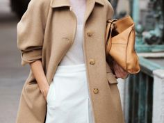 Camel & white outfit