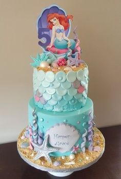 Mermaid (The Little Mermaid) cake by Ollys Cakery - Shopkins birthday - Little Mermaid Birthday Cake, Little Mermaid Cakes, Little Mermaid Parties, The Little Mermaid, Sirenita Cake, Ariel Cake, Beach Themed Cakes, Girl Cakes, Party Cakes