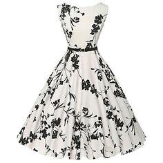 vintage das mulheres / vestido simples floral bainha / skater, rodada de algodão pescoço na altura do joelho (teste padrão de flor aleatório) - BRL R$ 41,71