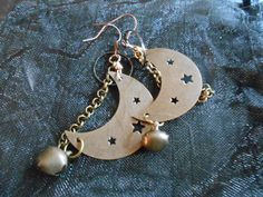 Moon Stars  and Bell Dangle Earrings. Halloween by PLANETDIGS2, $21.00