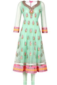 Sea green gota patti anarkali set available only at Pernia's Pop-Up Shop.