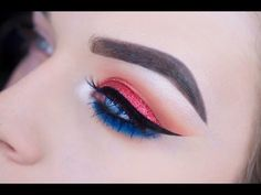 Fourth of July Glitter Eye Makeup Tutorial - YouTube
