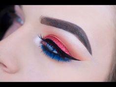 Fourth of July Glitter Eye Makeup Tutorial
