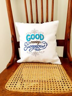 Good Morning Gorgeous Pillow Cover - Valentine's Pillow Cover - Embroidered Saying Pillow by LindasOtherLife on Etsy