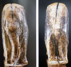 Neolithic mammoth figurine carved out of mammoth bone and other zoomorphic figurines.