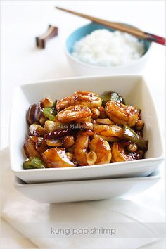 Kung Pao Shrimp recipe - If you love Kung Pao as much as I do, you can pretty much Kung Pao anything you wish, for example: cuttlefish, squid, and my personal favorite, bull frogs! Yes, I know it sounds absolutely disgusting, but it's undeniably delicious, and yes, they taste just like chicken, but a lot more tender. *wink* #shrimp #30-minutemeals