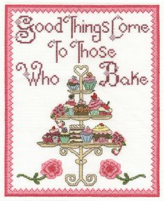 Love baking and cross stitch?  then you will love this new BK1432 contemporary sampler design.