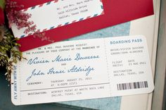 These personalized boarding passes are perfect for setting the theme of your big day.