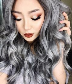 Metallic grey hair. Picture of @xtianaland Hair by @bescene