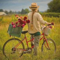 Biking and gathering wildflowers