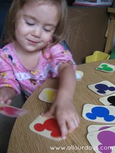 Matching Mickey Mouse Paint Chips (31 Days of Busy Bags & Quiet Time Activities @ AllOurDays.com)