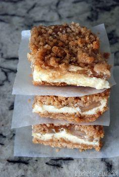 Apple Streusel Cheesecake Bars by Hrubec Hrubec Jasiewicz Cheesecake Bars, Cheesecake Recipes, Dessert Recipes, Apple Cheesecake, Apple Recipes, Sweet Recipes, Baking Recipes, Yummy Recipes, Cookies