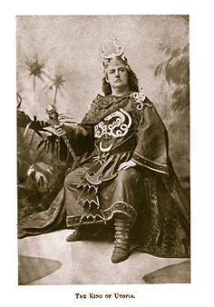 """Alfred Ellis photograph of Rutland Barrington as King Paramount (Act One) in the original 1893 production of """"Utopia, Limited"""" at the Savoy Theatre."""