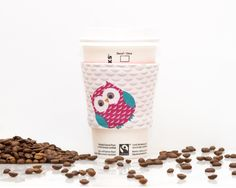New to Chockrosa on Etsy: Owl fabric coffee cozy with pink lining - Coffee cup sleeve - Eco friendly cozy - Gift for coffee and owl lover - Drink Sleeve - Reversible