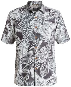 Quiksilver Waterman Men's Leaf-Print Short-Sleeve Shirt