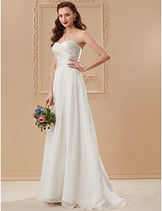 A-Line Princess Sweetheart Floor Length Chiffon Wedding Dress with Criss Cross by LAN TING BRIDE® #weddingdress #wedding #weddingideas