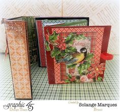 Check out the pages of this beautiful The Twelve Days of Christmas mini album by Solange using Core'dinations cardstock #Graphic45 #coredinations