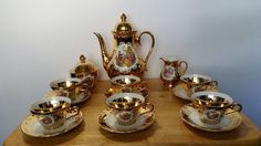 Rare Antique 24 Kt.Gold Over Porcelain STW 17pc Germany Bavaria Coffee/Tea Set