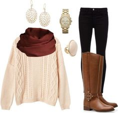 Perfect fall outfit i have this sweater its really cute but they stetch really easily but go back to normal when u dry it FOLLOW MEE ;D