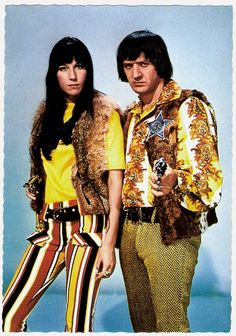 *Sonny & Cher    Vintage postcard by ISV, no. H 129.    Sonny & Cher were an American pop music duo, actors, singers and entertainers made up of husband-and-wife team Sonny and Cher Bono. The couple started their career in the mid-1960's as R backing singers for record producer Phil Spector. They achieved fame with two hit songs in 1965, Baby Don't Go and I Got You Babe. Signing with Atco/Atlantic Records, they released three studio albums in the late 1960's, as well as the soundtrack reco...
