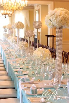 All about the bling!!l! Tiffany blue inspired wedding table setting at Graydon Hall by Rachel Clingen