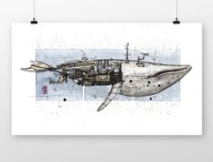 steampunk whale by coffeeAFTEReight on Etsy Coffee Meeting, Cyberpunk, Whale, Steampunk, Behance, Sketches, Drawings, Animals, Etsy