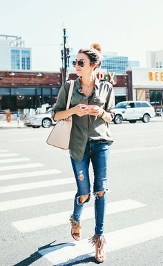 DETAILS: ARMY GREEN BUTTON UP (ON SALE – WEARING SIZE XS) || DISTRESSED DENIM (SIMILAR HERE) || FRINGE SUEDE HEELS (ON SALE – UNDER A $100) || HAIR SERUM || GOLD CHAIN WATCH || SUNGLASSES || NECKLACE