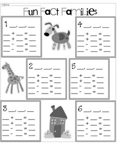 Free Fact Family Worksheet and Center Cards