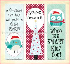 It's Written on the Wall: (Freebie) Christmas Bookmarks Have Arrived-See all 12