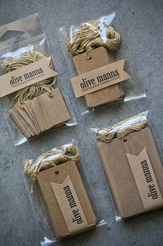 "Kraft gift tags, pre-strung with gold twine. The mini tags have straight corners and the rest have slightly rounded corners. Mini - 0.75"" x 1.25"" Small - 1.25"" x 2"" Medium - 1.5"" x 2.5"" Large - 2"" x 3"