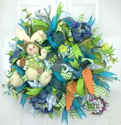 Mesh Burlap Easter Bunny Wreath - Carrots - Blue - Lime Green - Hydrangeas by www.southerncharmwreaths.com #burlap #bunny #blue #carrots #hobbylobby