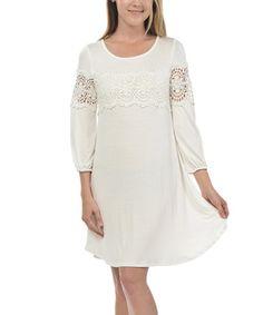 White Lace-Trim A-Line Dress #zulily #zulilyfinds