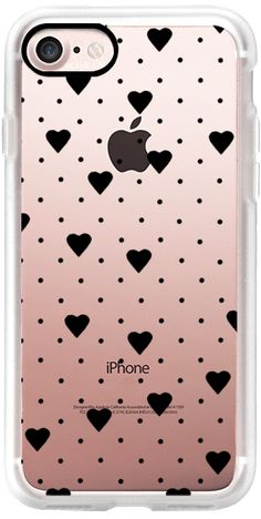 Casetify iPhone 7 Classic Grip Case - Polka Dot Heart Black by Project M #Casetify