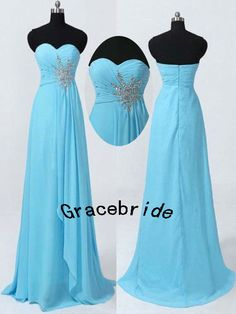 right blue chiffon bridesmaid dresses for wedding long delicate prom gowns with beaded and rhinestones elegant stunninghomecoming dress hot on Etsy, $128.00.    For my bridesmaids