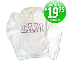 Fraternity Printed Hoody with 5-Inch Letters - SALE $19.95 #greek #apparel #fraternity #sweatshirt