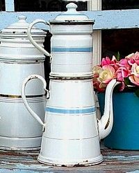 Antique 1800s White & Pastel Blue French Enamelware Biggin Pot