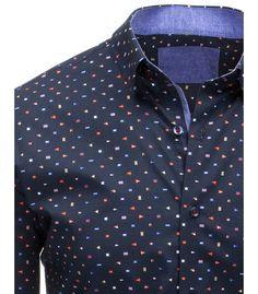 Elegantní bílá pánská košile s modrým vzorem a zapínáním na knoflíky ... a0d986ffbe
