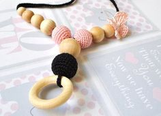 Nursing/Teething Necklace with wooden ringBlack by Simplyacircle